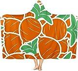 coperta con cappuccio in flanella,carota, leggera, comoda e leggera, ideale per tutte le stagioni, per bambini, donne e uomini 50x40 inch