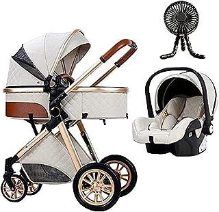 YQLWX Baby Barnvagn Travel Systems Baby Trend 3 i 1 Hög Landskap Barnsängar Bassinet För Nyfödd Lätt Barnvagn Med Fläkt Ky...