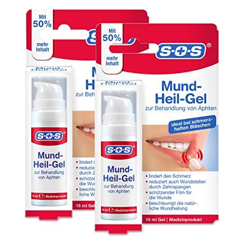 SOS Mund-Heil-Gel, zur Linderung von Schmerzen durch Aphten auf Zunge, Mundschleimhaut und Lippen, auch bei kleineren Wunden durch Zahnspangen, beschleunigt den Heilungsprozess, 2 x 15ml Gel
