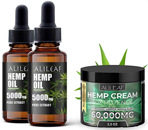 (3 Pack) Hemp Oil & Cream - 5000mg for Pain Relief, Stress, Anxiety, Deep Sleep & Overall Health - Organic Full Raw Hemp Oil and Cream 100% Organic with Omega 3, 6, 9 - Grown & Made in USA