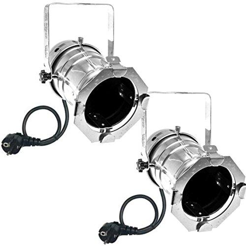 Varytec 1248 - 2 x PAR 30 Spot-Light Scheinwerfer SILBER polish PAR-30 mit E-27 Fassung & Kabel mit Schuko-Stecker