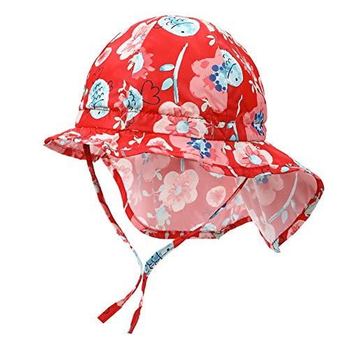 Baby Sonnenhut mit Nackenschutz, VUCDXOP Schnelltrocknende Schirmmütze Outdoor Travel UV-Schutz Sommerhut mit Kinnriemen Atmungsaktiver Strandhut mit verstellbarem Kinnriemen