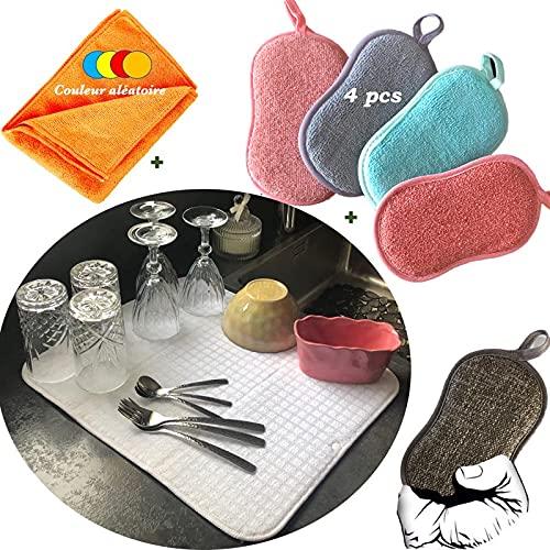 Kit de esponja de microfibra lavable reutilizable para vajilla, mágica antibacteriana higiénica de doble cara raspante cepillo limpieza cocina paño XL (kit de 4 esponjas + escurridor + trapo)