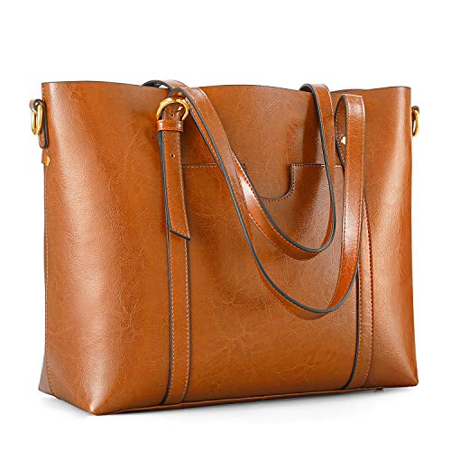 Kattee Women's Genuine Leather Tote Bag Vintage Large Capacity Satchel Work Purses and Handbags with Ajustable Straps(Orangey Brown)