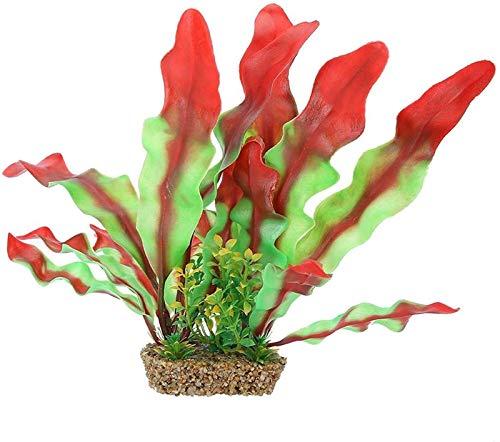Decoración subacuática Ornamento de Vidrio Artificial Ornamento de la Planta, diseño de Alta simulación en Forma de Roca Base de la Planta Artificial, Acuario para el hogar (Color : Red with Green)