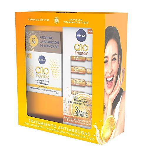 NIVEA Pack Q10 Tratamiento Antiarrugas, caja de regalo con crema de día FP30 (1 x 50 ml) y ampollas antiarrugas (7 uds), set para una piel radiante y luminosa