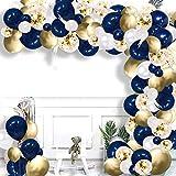 Luftballons Blau Gold Weiß, Aivatoba Luftballons Girlande Ballongirlande Konfetti Ballons Deko Geburtstag für Babyparty Kinder Hochzeit Männer Junge Party Dekoration