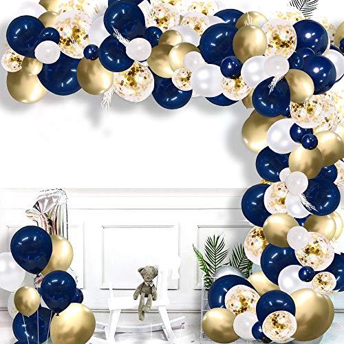 Kit de arco de globo azul Aivatoba,kit de guirnaldas de globos de cumpleaños azul marino, dorado y blanco con accesorios de globos para decoraciones de cumpleaños,baby shower, boda