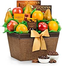 GiftTree Fresh Fruit & Godiva Chocolate Gift Basket   Includes Gourmet Chocolates and Confections from Godiva   Fresh Pears, Crisp Apples, Juicy Oranges in a Reusable Container