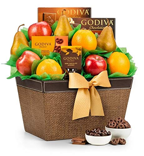 GiftTree Fresh Fruit & Godiva Chocolate Gift Basket | Includes Gourmet Chocolates and Confections from Godiva | Fresh Pears, Crisp Apples, Juicy Oranges in a Keepsake Container