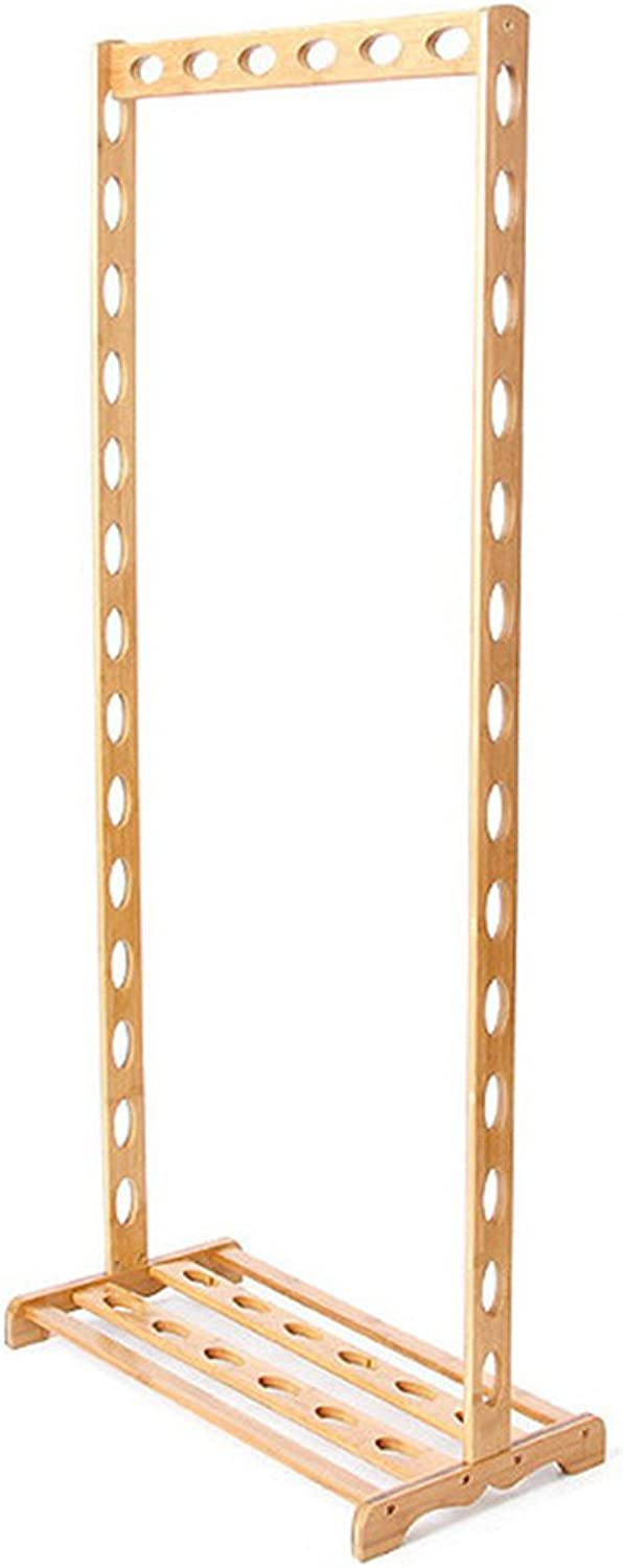 LIANGJUN Floor Standing Coat Rack Hat Stand Hanger Frame Oval Hanging Hole Hollow High Capacity 1 Layer Shelf Storage, Bamboo Jacket Scarf Porch