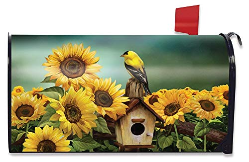 Briarwood Lane Goldfinch and Sunflowers Magnetic Mailbox Cover Birdhouse Standard