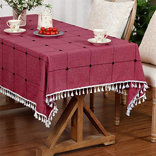 LUCKYHOUSEHOME Wine Red Lattice Tablecloth Embroidery Tassel Table Cover for Home Kitchen Dinning Tabletop Rectangle 43 x 63 Inch