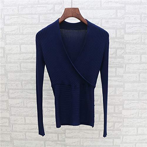 2019 Lente en Herfst Koreaanse Hedging wilde skinny taille diep V sexy low-cut T-shirt vrouwelijke korte trui lo shi merk: QWERTY (Kleur: Donker blauw, Maat : Een maat)