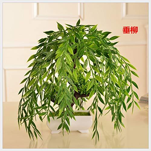 LXFLY Willkommene Kiefernpflanze der Simulation Topfgrünpflanze kleine gefälschte Blumendekorationshauptdekoration verziert Trauerweide des Bonsais Tischplatten