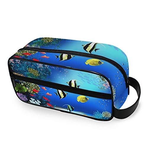 Tropical Ocean Fish Box Makeup Bag Storage Tools Cosmetic Train Case Portable Travel Toiletry Pouch