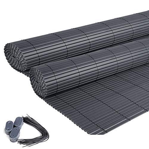 EUGAD 2X PVC Sichtschutzmatte Grau Sichtschutz Windschutz Sichtschutzzaun Balkon & Terrasse Gartenzaun 120x500cm