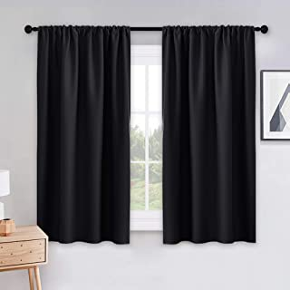 PONY DANCE Black Out Window Curtains - 2 Panels Thermal Curtain Drapes Insulated Window Treatments Light Block Short Blinds Rod Pocket for Small Window, W 42 x L 54 inches, Black, One Pair