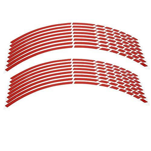 Fydun Tiras de Pegatinas de Borde, Bicicleta, Motocicleta, 16-18 Pulgadas, Pegatinas Reflectantes para Tiras de Ruedas, Accesorio de decoración para Mascotas, 16 Piezas(Rojo)