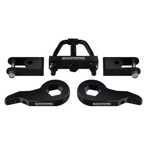 1.5 Rear Billet Lift Blocks Full Lift Kit for 1999-2007 Chevrolet Silverado 4WD Adjustable 1-3 Front Lift Steel Max-Torsion Keys Supreme Suspensions Black Square Bend U-Bolts