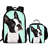 Jard-T Children Schulranzen Set Cute Dogs Drucken Rucksack Büchertasche and Lunch Bag for Teen Pet Boston Terrier Pattern