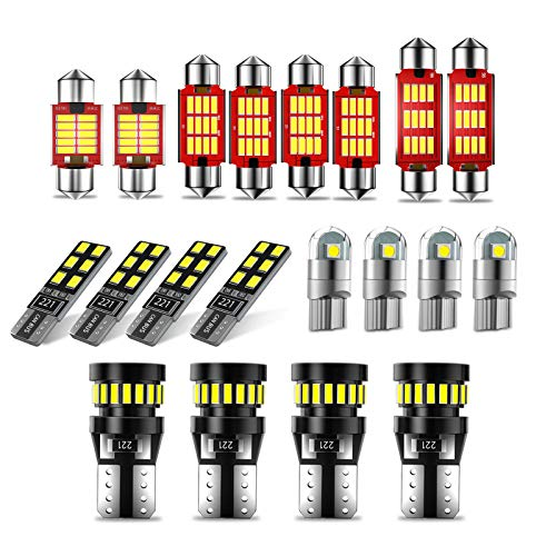 CCAUTOVIE 20pcs canbus Kit de luces LED para coche sin errores,T10 W5W Bombillas LED para coche 194 168,Festoon C5W 31mm 36mm 41mm Bombillas LED para interior de coche Domo Mapa Puerta Placa Luz