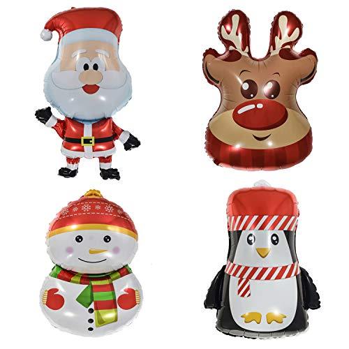 4 PCS Large Christmas Aluminum Foil Balloons - LKAKA Santa Claus/Xmas Elk Head/Christmas Penguin/Snowman Mylar Helium Balloon for New Year Party Decoration Xmas Supplies
