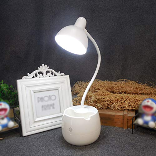 CYR Soporte para bolígrafo Creativo Sensor táctil protección Ocular lámpara de Escritorio Dormitorio del Estudiante Escritorio lámpara de Escritorio de Lectura lámpara de Noche,Blanco