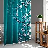 LIGICKY Japanischer Stil Duschvorhang für Badezimmer Durable Wasserdicht Stoff Duschvorhänge für Home Decor 180 x 180 cm, Pflaume auf blauem Hintergr& Set mit Duschvorhangringen