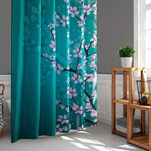 LIGICKY Cortina de ducha de estilo japonés con diseño de flores de ciruelo para baño, tela resistente al agua, cortinas de decoración del hogar, 188 x 188 cm, con ganchos