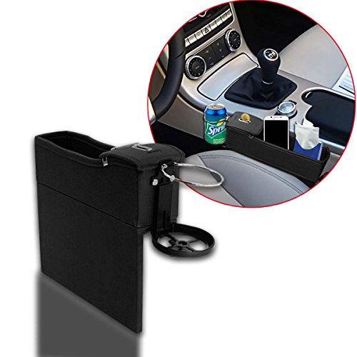 Zento Deals Driver Side Super Handy Black Car Console Seat Side Coin Holder Cup Holder Storage Organizer –Cellphone, Wallet, Keys and the likes Holder Closer to your Body Box Organizer