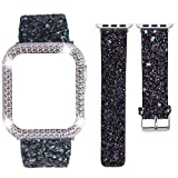 DABAOZA Compatible for Apple Watch Band 38mm with Case, Bling Women Glitter Leather Strap Sparkle Replacement Wristband with Dressy Crystal Bumper Cover for iWatch Series 3 2 1(Black, 38mm)