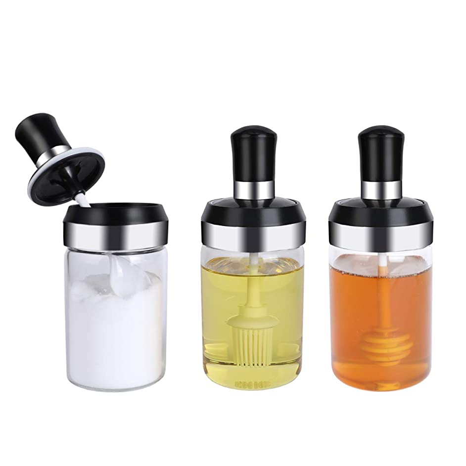 Condiment Pots,3 Pack Condiment Container Kitchen Condiment Jars Glass Spices jar spices container with Lids and Spoons for Spices,Condiments,Seasonings