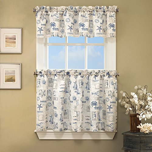 """Sweet Home Collection 3 Pc Kitchen Curtain Set-Valance and Choice of 24"""" or 36"""" Tier Pair, Ocean Blue"""