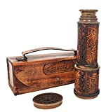 Brass Nautical - Antique Working Telescope/Spyglass Replica in Leather Box, with Glass Optics, Extendable to 14 inches, Made of Pure Brass, Decorative Kids Scope