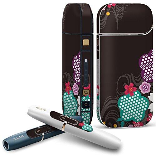 IQOS 2.4 plus 専用スキンシール COMPLETE アイコス 全面セット サイド ボタン デコ フラワー 和風 和柄 花 フラワー 008179