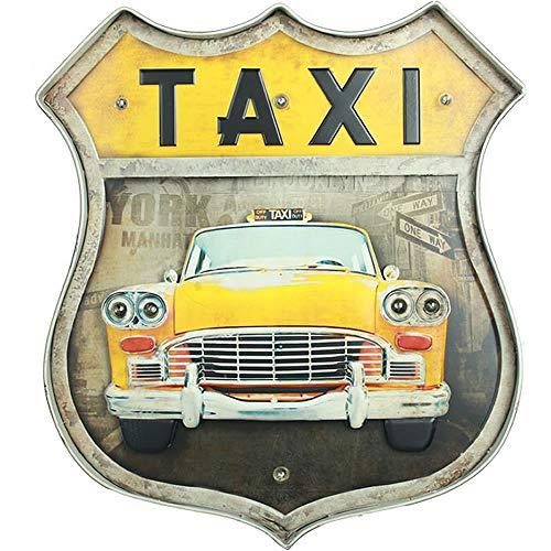 SARED Placa LED Taxi New York Amarillo Metal – Decoración de Pared Luminosa Vintage Metal – 46 x 42 x 5 cm - Día de San Valentín, cumpleaños, idea de regalo de boda