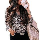 Lazzon Camisas y Blusas para Mujer Leopard Print Sexy con Cu