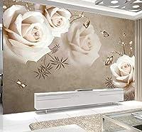 Wkxzz 壁の背景装飾画 カスタム3D壁画レトロ白いバラ壁紙リビングルームの寝室ロマンチックな家の装飾絵画壁画-150X120Cm