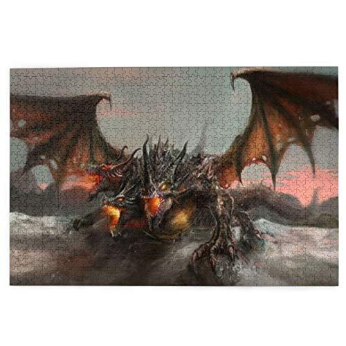 Rompecabezas colorido, ilustración del mundo de fantasía de 3 cabezas de dragón que respira fuego grande, monstruo gótico, para regalo de Navidad de todas las edades, 1000 piezas de madera
