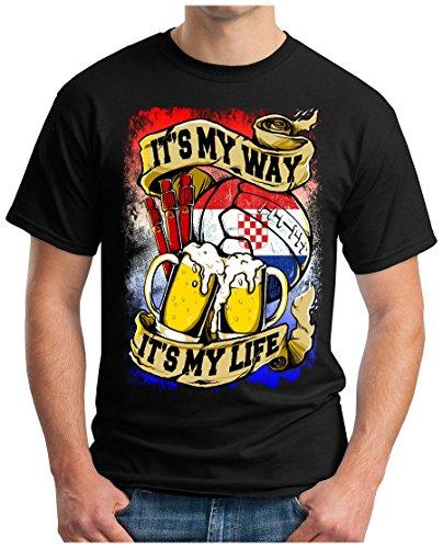 OM3® - Croatia-My-Way - T-Shirt My LIVE - Hrvatska Kroatien Fussball Soccer Fanshirt Bier Drink Sport Geek Fun, 4XL, Schwarz