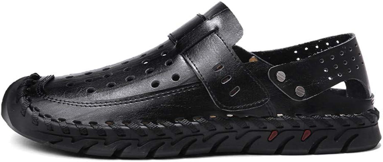 Chanclas Deportes Al Aire Libre Sandalias shoes para men Men's Cool Leather shoes Summer Men's shoes Casual Holes Leather Sandals Baotou Half Slippers Beach Summer