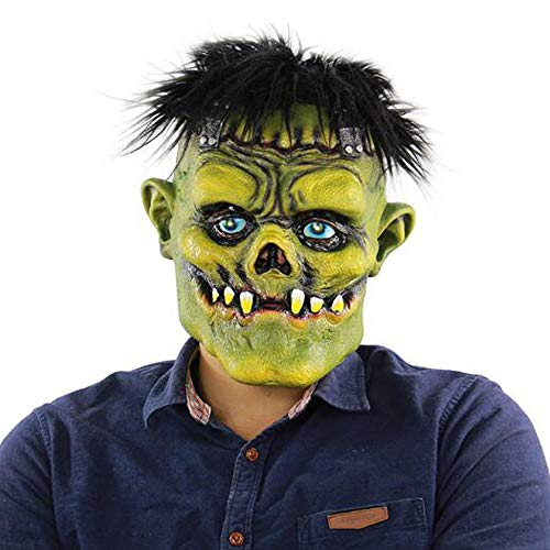 S&D Halloween Horror Monster Maske, Ostern Thriller Bloody Atmosphere Rollenspiele Brunette Green Face Grimace Dress Up, Maskerade Scary Zubehör Ausrüstung