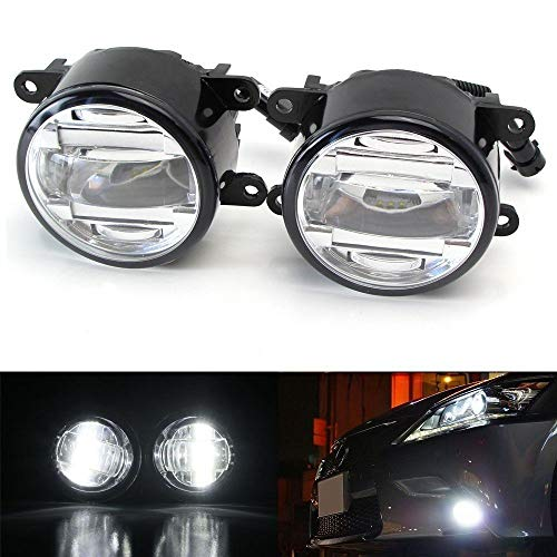 iJDMTOY OEM Spec 15W Xenon White LED Projector Fog Lights Compatible With Acura Honda Ford Nissan Infiniti Subaru etc. Powered by 3 Pieces High Power 5W CREE XB-D LED Emitters