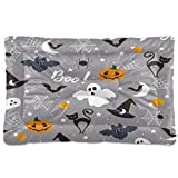 UNISE Halloween Seamless Ghost Pumpkins Pet Bed Mats Non-Slip Portable Washable Dog & Cat Seat Mattress Pad for Crate Cage Nest Car Travel Outside