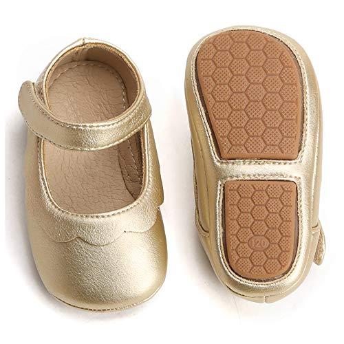Felix & Flora Infant Baby Girl Shoes Soft Sole Toddler Ballet Flats Baby Walking Shoes(9-12 Months Infant,Gold)