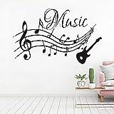 LKJHGU Carta da Parati Musica Nota per Chitarra Musica Vinile Adesivo da Parete per Camera dei Bambini