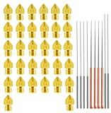 3D Printer MK8 Nozzle with 10PCS Cleaning Nozzels, 20pcs 0.4mm Nozzles + 2pcs (0.2 0.3 0.5 0.6 0.8 1.0mm) Nozzles Brass Extruder Head Hotend Nozzle 1.75mm Filament for Makerbot Creality Cr-10 Anet A8