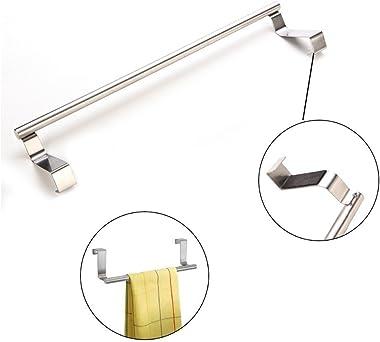 garbnoire Kitchen Hook Drawer Storage Adjustable Over Cabinet Stainless Steel Towel Bar/Holder (9-inch,Silver)