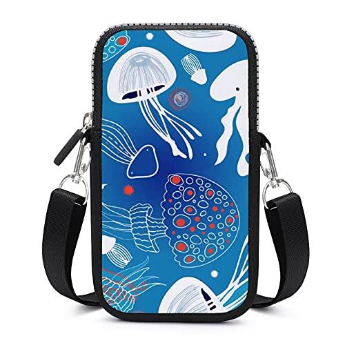 Bolso bandolera para teléfono móvil con correa de hombro extraíble, lindas medusas a prueba de sudor, funda para pulsera de teléfono, bolsa de yoga, unisex
